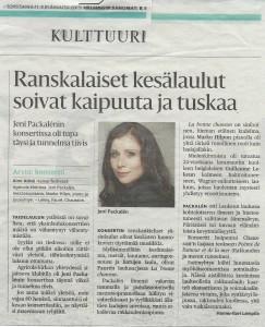 Lue HS-arvio mezzosopraano Jeni Packalenin ja Status Ensemblen konsertista 10.6.2015